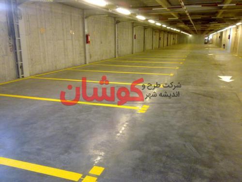 06112015003 - خط کشی پارکینگ ساختمان شرکت اپراتور رایتل توسط تیم مهندسین شهر